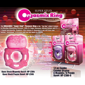 Super Stud Orgasmix Ring, waterproof silicone vibrating cock ring
