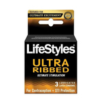 Lifestyles Ultra Sens Ribbed Lubricated Condom 3PK for sale